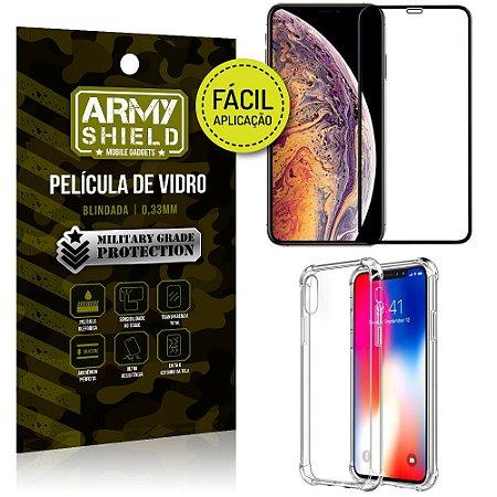 Kit Película 3D Fácil Aplicação Apple iPhone XS Max 6.5 + Capa Anti Impacto - Armyshield