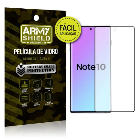 Película 3D Fácil Aplicação Samsung Galaxy Note 10 Película 3D - Armyshield