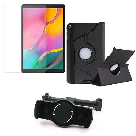 Kit Suporte Tablet Carro Galaxy Tab A 10.1' T515/T510 + Película Vidro +Capa Giratória - Armyshield