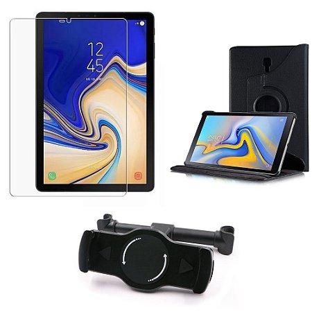 Kit Suporte Tablet Carro Galaxy Tab S4 10.5' T835/T830 + Película Vidro +Capa Giratória - Armyshield