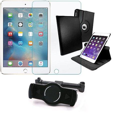 Kit Suporte Tablet Carro iPad Mini 4 + Película Vidro +Capa Giratória - Armyshield
