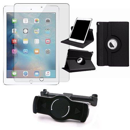 Kit Suporte Tablet Carro iPad New (6a geração) + Película Vidro +Capa Giratória - Armyshield