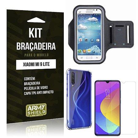 Kit Braçadeira Mi 9 Lite Braçadeira + Capinha Anti Impacto + Película de Vidro - Armyshield