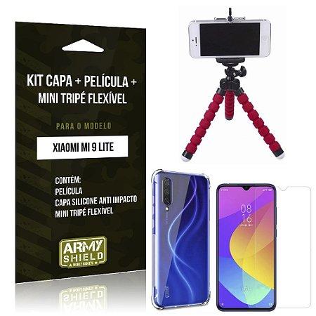 Kit Mini Tripé Flexível Mi 9 Lite Tripé + Capinha Anti Impacto + Película de Vidro - Armyshield