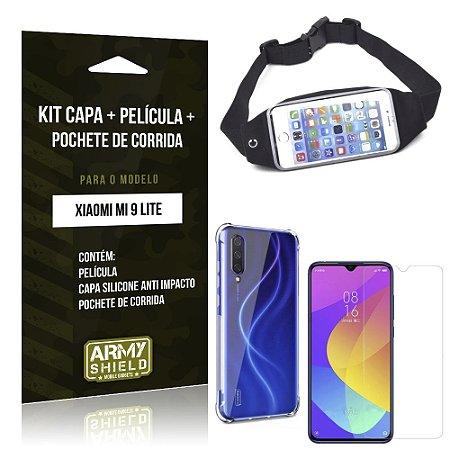 Kit Pochete Mi 9 Lite Pochete + Capinha Anti Impacto + Película de Vidro - Armyshield
