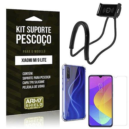 Kit Suporte Pescoço Mi 9 Lite Suporte + Capinha Anti Impacto + Película de Vidro - Armyshield