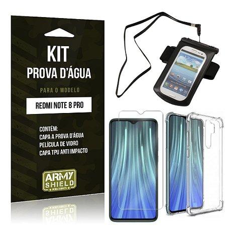 Kit Prova D'água Redmi Note 8 Pro Capinha Prova D'água + Capa Anti Impacto + Película - Armyshield