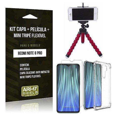 Kit Mini Tripé Flexível Redmi Note 8 Pro Tripé + Capa Anti Impacto + Película de Vidro - Armyshield