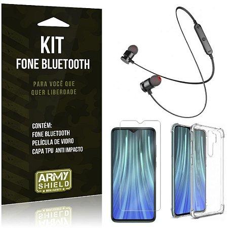 Kit Fone Bluetooth Sport 901 Redmi Note 8 Pro Fone + Capa Anti Impacto + Película Vidro - Armyshield