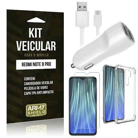 Kit Carregador Veicular Tipo C Redmi Note 8 Pro Carregador + Capa Anti Impacto + Película Vidro - Armyshield