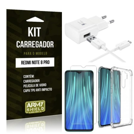 Kit Carregador Tipo C Redmi Note 8 Pro + Capinha Anti Impacto + Película de Vidro - Armyshield