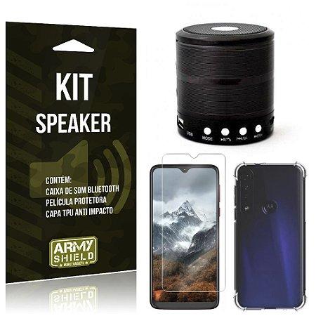 Kit Mini Speaker Moto One Macro Caixa de Som Bluetooth + Capa Anti Impacto + Película - Armyshield