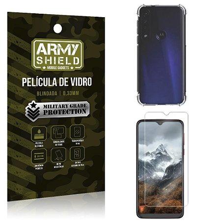 Kit Anti Impacto Moto G8 Play Capinha Anti Impacto + Película de Vidro - Armyshield