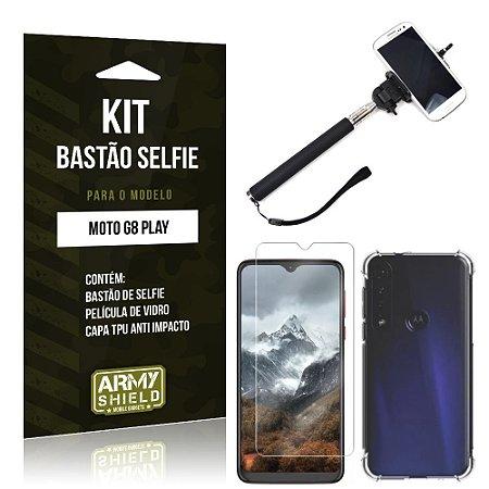 Kit Bastão de Selfie Moto G8 Play Bastão + Capinha Anti Impacto + Película de Vidro - Armyshield