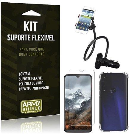 Kit Suporte Flexível Moto G8 Play Suporte + Capinha Anti Impacto + Película de Vidro - Armyshield