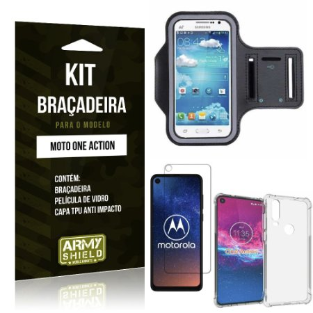 Kit Braçadeira Moto One Action Braçadeira + Capinha Anti Impacto + Película de Vidro - Armyshield