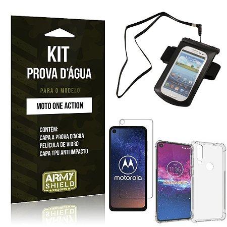 Kit Prova D'água Moto One Action Capinha a Prova D'água + Capa Anti Impacto + Película - Armyshield