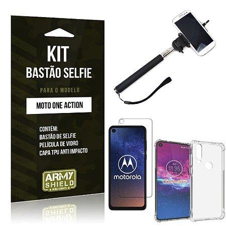 Kit Bastão de Selfie Moto One Action Bastão + Capinha Anti Impacto + Película de Vidro - Armyshield
