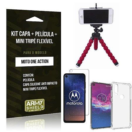 Kit Mini Tripé Flexível Moto One Action Tripé + Capinha Anti Impacto + Película Vidro - Armyshield