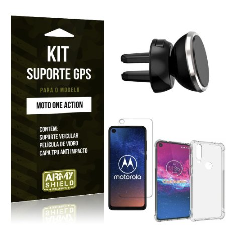 Kit Suporte Veicular Magnético Moto One Action Suporte + Capinha Anti Impacto + Película de Vidro - Armyshield