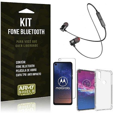 Kit Fone Bluetooth Sport 901 Moto One Action Fone + Capa Anti Impacto + Película Vidro - Armyshield