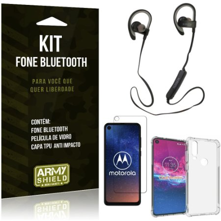 Kit Fone Bluetooth Sport 907 Moto One Action Fone + Capa Anti Impacto + Película Vidro - Armyshield