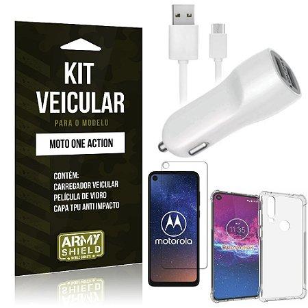 Kit Carregador Veicular Tipo C Moto One Action + Capa Anti Impacto + Película Vidro - Armyshield