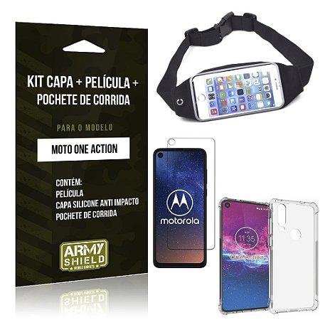 Kit Pochete Moto One Action Pochete + Capinha Anti Impacto + Película de Vidro - Armyshield