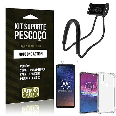 Kit Suporte Pescoço Moto One Action Suporte + Capinha Anti Impacto + Película de Vidro - Armyshield
