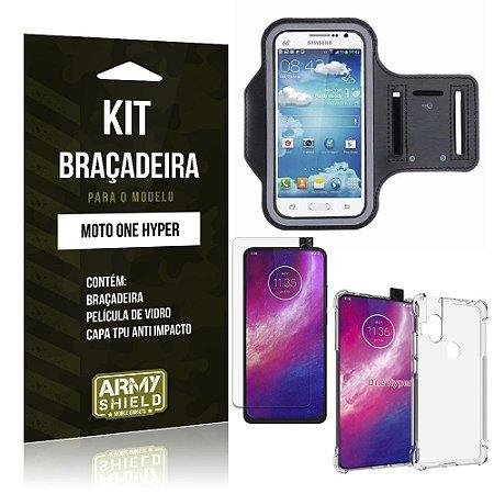Kit Braçadeira Moto One Hyper Braçadeira + Capinha Anti Impacto + Película de Vidro - Armyshield
