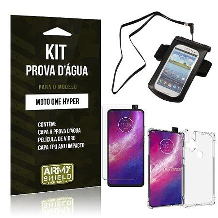 Kit Prova D'água Moto One Hyper Capinha Prova D'água + Capinha Anti Impacto + Película - Armyshield