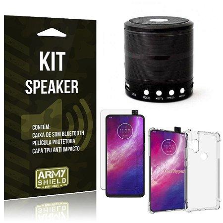 Kit Mini Speaker Moto One Hyper Caixa de Som Bluetooth + Capa Anti Impacto + Película - Armyshield