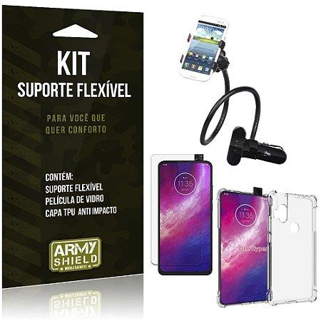 Kit Suporte Flexível Moto One Hyper Suporte + Capinha Anti Impacto + Película de Vidro - Armyshield