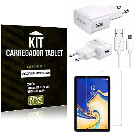 Kit Carregador Tipo C Samsung Galaxy Tab S4 10.5' T835/T830 + Película de Vidro - Armyshield