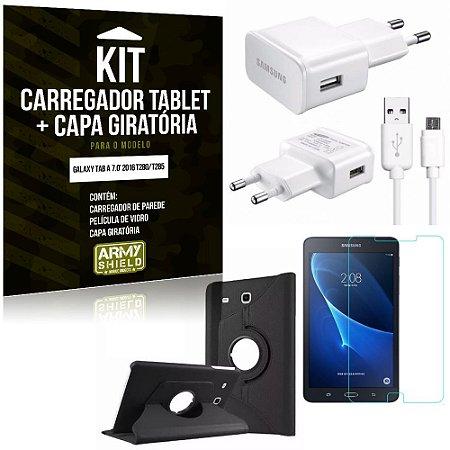 Kit Carregador Galaxy Tab A 7.0' 2016 T280/T285 + Capa Giratória + Película de Vidro - Armyshield