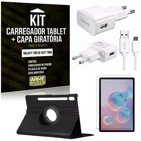 Kit Carregador Tipo C Galaxy Tab S6 10.5' T865 + Capa Giratória + Película de Vidro - Armyshield