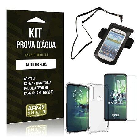 Kit Prova D'água Moto G8 Plus Capinha Prova D'água + Capinha Anti Impacto + Película - Armyshield