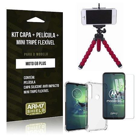 Kit Mini Tripé Flexível Moto G8 Plus Tripé + Capinha Anti Impacto + Película de Vidro - Armyshield