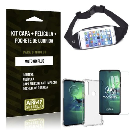 Kit Pochete Moto G8 Plus Pochete + Capinha Anti Impacto + Película de Vidro - Armyshield