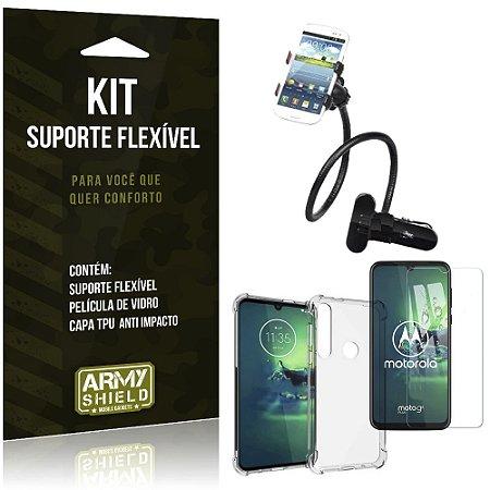Kit Suporte Flexível Moto G8 Plus Suporte + Capinha Anti Impacto + Película de Vidro - Armyshield