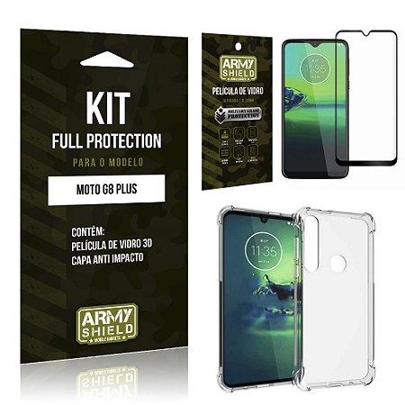 Kit Full Protection Moto G8 Plus Película de Vidro 3D + Capa Anti Impacto - Armyshield