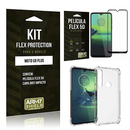 Kit Flex Protection Moto G8 Plus Capa Anti Impacto + Película Flex 5D - Armyshield