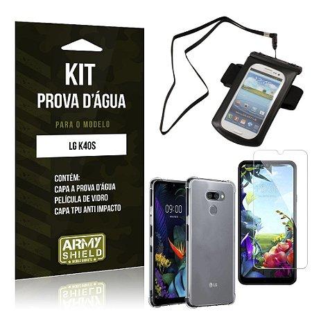 Kit Prova D'água LG K40s Capinha Prova D'água + Capinha Anti Impacto + Película - Armyshield