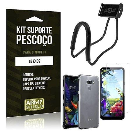 Kit Suporte Pescoço LG K40s Suporte + Capinha Anti Impacto + Película de Vidro - Armyshield