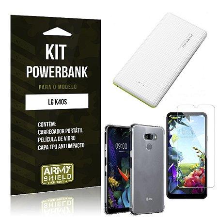 Kit Carregador Portátil 10K LG K40s + Capa Anti Impacto +Película Vidro - Armyshield