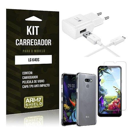 Kit Carregador LG K40s + Capinha Anti Impacto + Película de Vidro - Armyshield
