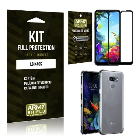 Kit Full Protection LG K40s Película de Vidro 3D + Capa Anti Impacto - Armyshield
