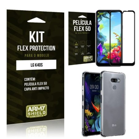 Kit Flex Protection LG K40s Capa Anti Impacto + Película Flex 5D - Armyshield