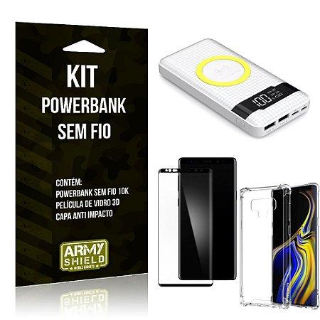 Kit Powerbank Sem Fio 10.000mAh Galaxy Note 9 + Capa Anti Impacto + Película Vidro 3D - Armyshield