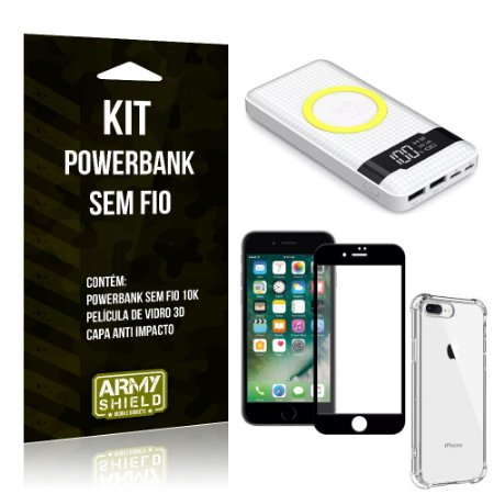 Kit Powerbank Sem Fio 10.000mAh iPhone 8 Plus + Capa Anti Impacto + Película Vidro 3D - Armyshield